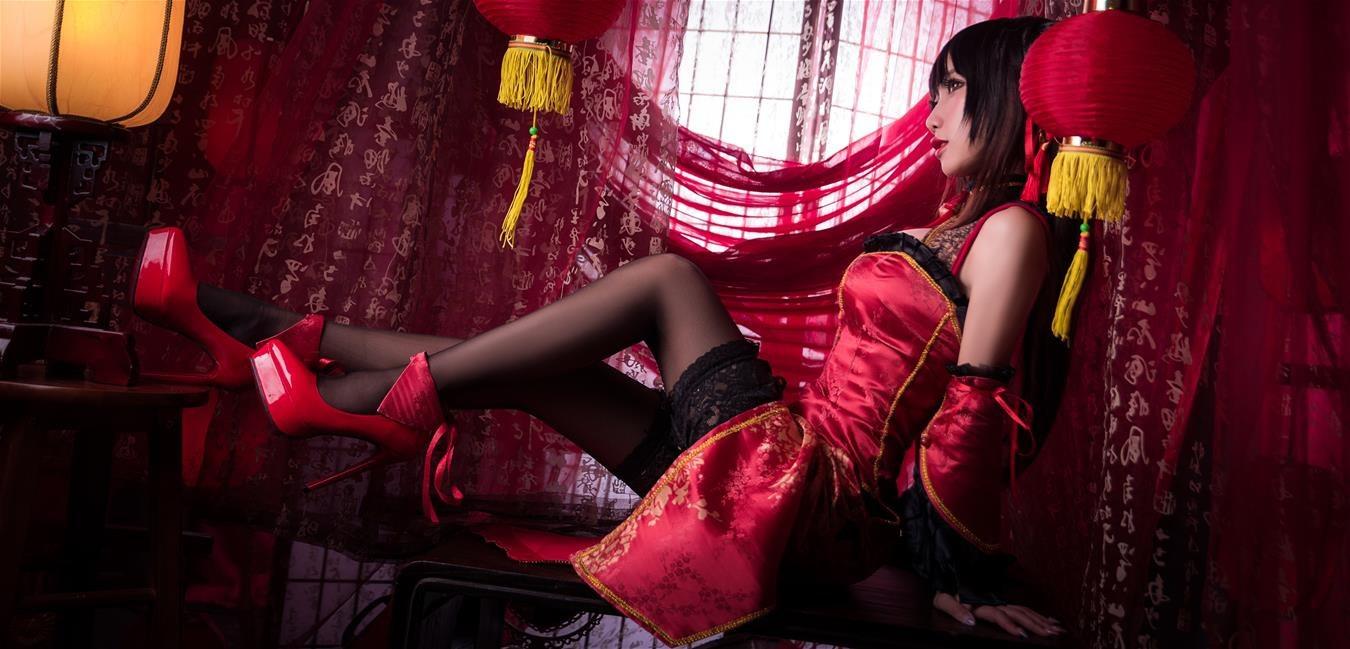 鬼畜瑶在不在w 时崎狂三新年旗袍 [22P-415MB] 网红少女-第1张